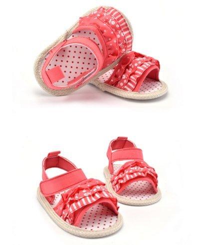 Ohmais Enfants Chaussure Bebe Garcon Fille Premier Pas Chaussure premier pas bébé Sandale en tissu souple Rouge