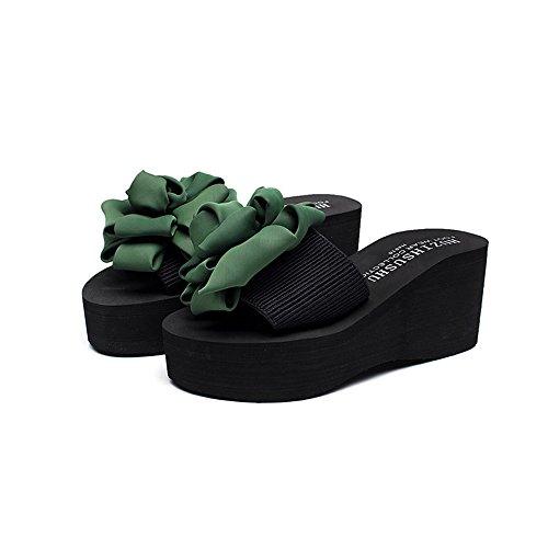 ZHIRONG Wedges Pantoufles Femme Eté Anti-dérapant Mode Extérieur Usure Chaussures De Plage À Talons Hauts Talon Épais Sandales