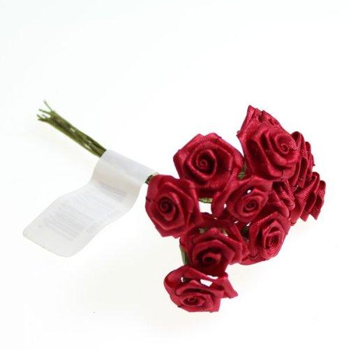 144 Diorröschen 15mm Satinröschen 10cm Stiel Hochzeit Deko Rosen Röschen Seidenröschen, Farbe:rot