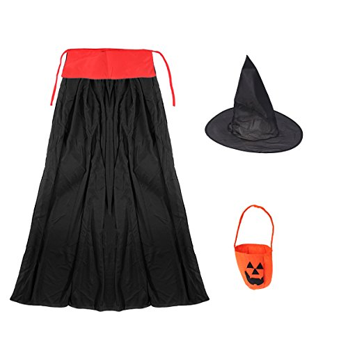 xe Umhang Halloween Kinder Party (Hut, Kinder Umhang und Non-Woven Pumpkin Bag) 3St ()