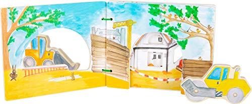 Small Foot 12039 - Libro de imágenes Interactivo de Madera, Certificado FSC 100%, Libro de bebé con vehículos, Recuerda la fantasía de Juguetes, Multicolor