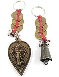Key Era Combo Of 2 Leaf Ganesh & Bell With Three Chinese Coin Bronze Colour Keychain & Keyring For Bikes, Cars...
