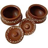 Homevolve Ceramic Brown Handi Shaped Serving Bowls With Lid (Set Of 2)