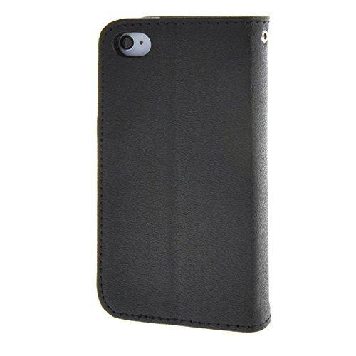 MOONCASE Étui pour iPhone 4 4S Coque en Cuir Portefeuille Housse de Protection à rabat Case Cover Noir Noir #0128