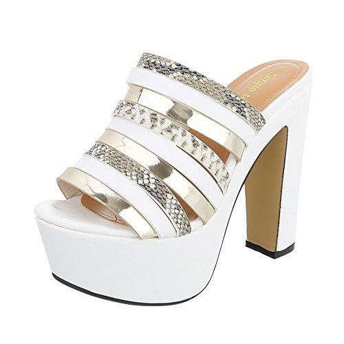 Ital-Design High Heel Sandaletten Damenschuhe Plateau Pump High Heels Sandalen/Sandaletten Weiß Gold