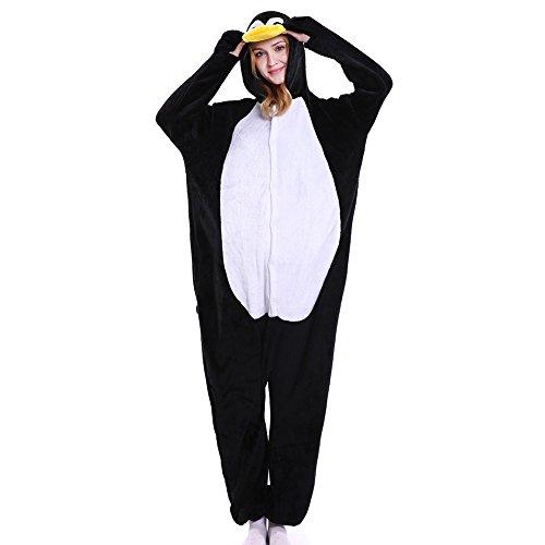 LSHEL Erwachsenen Tier Pyjama Jumpsuit Cosplay Unisex Cartoon Karneval Halloween Kostüm Fleece Overall Pyjamas, Pinguin, L (empfohlene Höhe 165-172 cm) (Pinguin Pyjama-hose)
