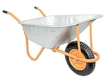 New DJM Heavy Duty Metal Garden Wheelbarrow With Pneumatic Tyre 90Litre / 180Kg