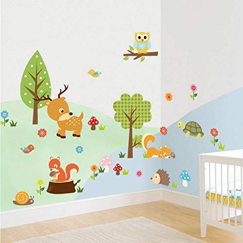 SJXWOL wandaufkleber Jungle Animal Kindergarten Dekorative Wandkunst PVC Applique Home Wandbild 80x55cm