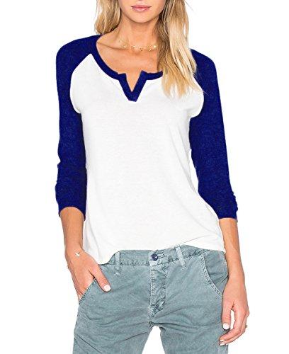 Langarm Beiläufige Damen V Ausschnitt Kontrast T-Shirt Baseball Langes Shirts Blusen Top (EU 40/XL, Violettblau) (Baseball Tee Kontrast)