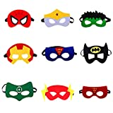 Rgargga Masques de Super-Héros, 9pcs Masques pour Enfants Dress Up Masque de Super-héros Cosplay Pour Enfants Cadeaux D'anniversaire et Fête d'Anniversaire pour Filles, Garçons et enfants