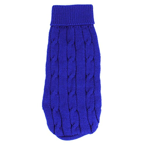 Sourcingmap Twisted Knit Ribbed Cuff Winter Warm Pet Apparel Sweater, 2X-Small, Blue
