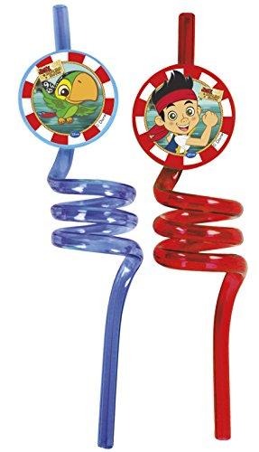 Disney Yo Ho Jake und die nie Land Piraten Gelockt Party Trinkhalme, 2Stück (Jake Taschen Kids)