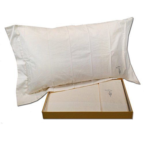 Double bed linen set Trussardi QUICK STRASS white in pure cotton satin