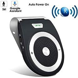 Kit Mains Libres pour Voiture Bluetooth 4.1 Allumage Automatique par capteur de Mouvement intégré Support du GPS, Musique, Handsfree Bluetooth Car Kit en même Temps Pair 2 Phones