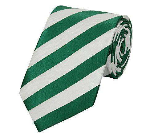 Moderne Fabio Farini Krawatte 8 cm in verschiedenen Farben,Weiß-Grün gestreift