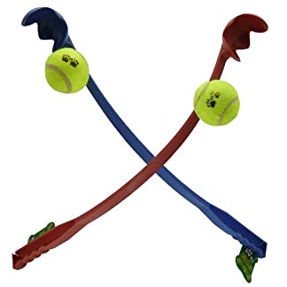 New Dog Ball Launcher Thrower With Tennis Ball, Long Handle, Great Fun For Dogs 7