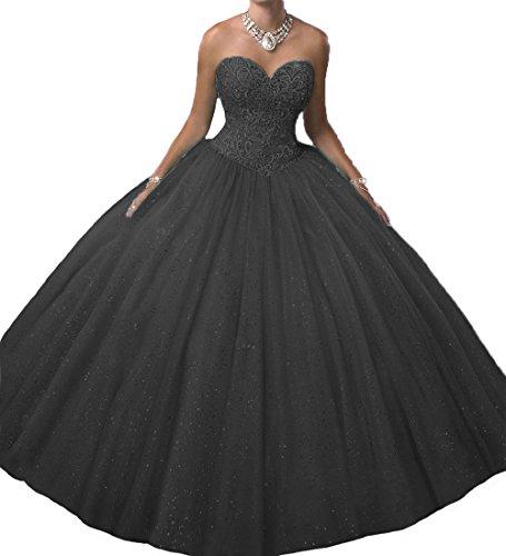 O.D.W Prinzessin A-Linie Bet?ubung Lange Quinceanera Party Kleider Formales Ballkleider S¨¹?e 15 Kleid(Schwarz, 44)