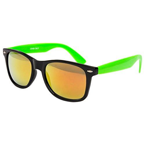 Ciffre Nerdbrille Sonnenbrille Stil Brille Pilotenbrille Vintage Look Schwarz Grün Feuer Verspiegelt -