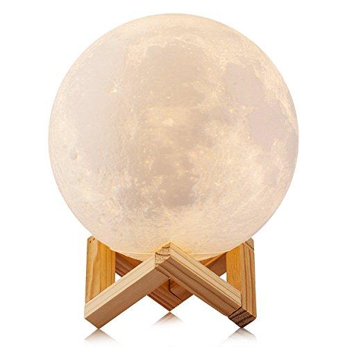 3D Druck Mond Lampe, SUAVER USB aufladen Touch stufenlose dimmbare LED Nachtlicht Nachttischlampe Schreibtischlampe Moonlight mit Holzhalterung, Home dekoratives Licht und romantisches Geschenk (18CM)