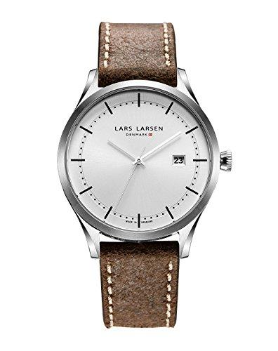 Lars Larsen orologio da uomo analogica al quarzo in pelle marrone 119sslbl