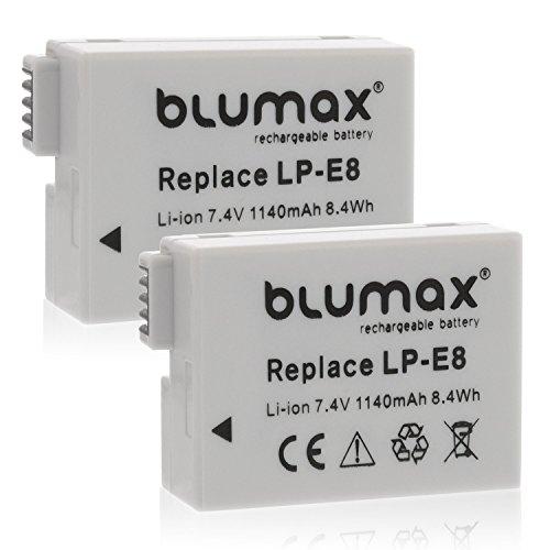 Blumax 2X Kamera Akku für Canon LP-E8 Passend zu EOS 550D 600D 650D 700D/EOS Kiss X4 X 5 X6i X7/Digital Rebel T2i T3i T4i T5i (Weiße Canon-t3i)