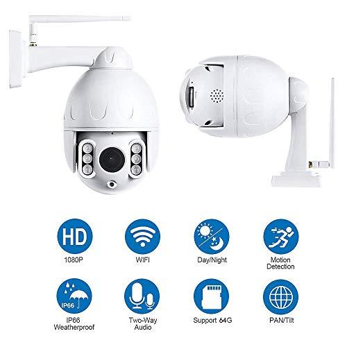 PTZ Kamera Aussen WLAN IP Dome Überwachungskamera 1080P Pan 355°/ Tilt 90°, Zwei Wege Audio, APP Alarm, Farbe Nachtsicht, Bewegungserkennung, IP66 Wasserdicht, Fernzugriff