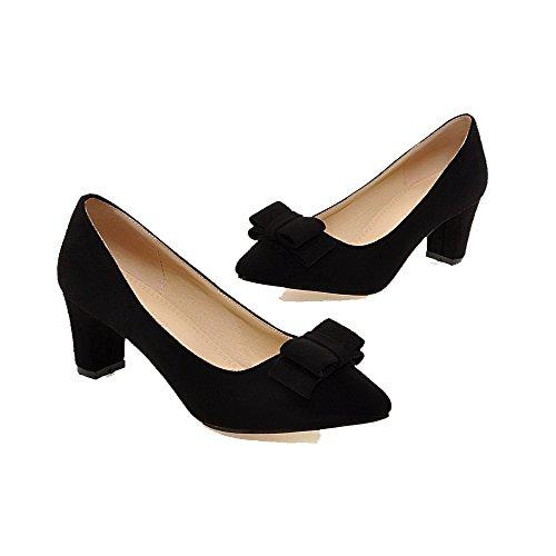 AgooLar Femme Tire Pointu à Talon Correct Suédé Couleur Unie Chaussures Légeres Noir