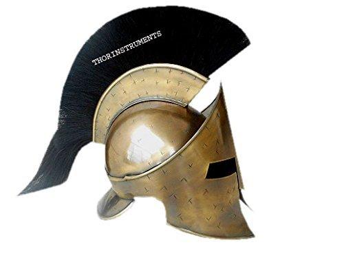 thor-instruments-co-300-roi-leonidas-casque-spartiate-casque-w-noir-plume-grec-ce-collier-sreplique-