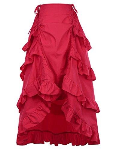 Belle Poque Traje de Steampunk gótico de la Mujer Falda de múltiples Capas de la Vendimia S Rojo