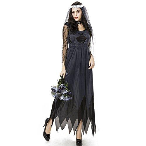 hibote Kostüme Erwachsene Zombie Geisterbraut Set für Damen / Damen Abendkleid (Strauß Halloween Kostüm)