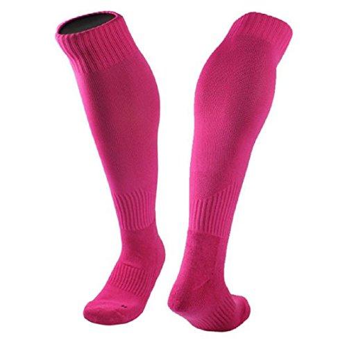 Saingace 1Pair Baumwollgarn und Nylonmischung Strümpfe Fußball-Socken Normallack Optional (Hot Pink)
