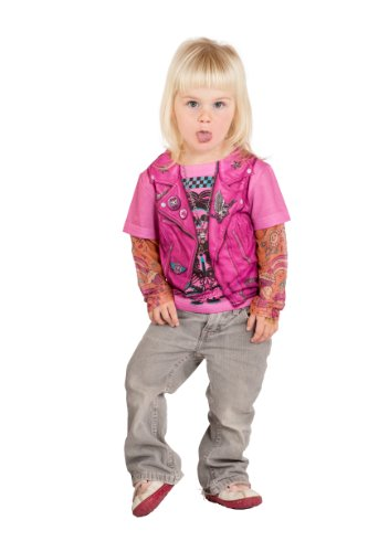 Kostüm Kinder Girl Biker - Faux Real Tees Toddler Biker Girl (3 Years, Pink) by Faux Real Tees
