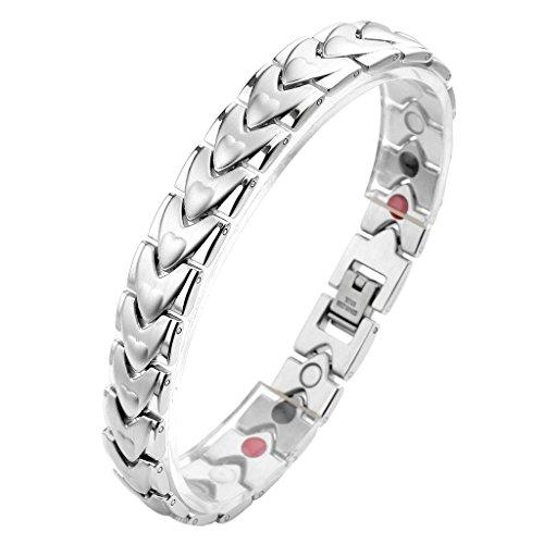 JOVIVI Unisex Magnetarmband Edelstahl Magnetisch Armreif Magnete Energietherapie Armband Gesundheit Armrief, Pfeil Herz Stil Silber