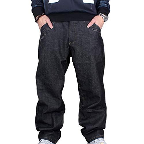 Herren Jeanshose Exquisite Klassische Jeans Baggy Urban Vintage Einfacher Stil Denim Hip Hop Tanzen Hosen Freizeithose (Color : Schwarz, Size : 34) -