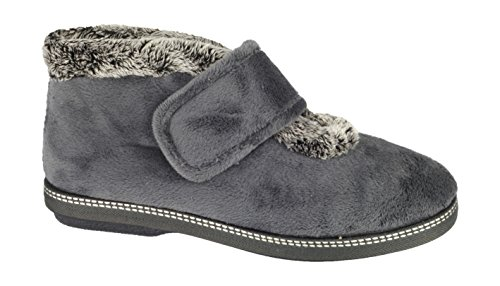 Cotswold Ladies Horcott Cute Comfortable Faux Fur Lined Slipper Grey Grey