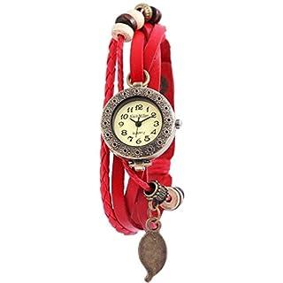 Alain Miller Damenuhr analog Armbanduhr Bronzefarbig Quarzwerk und Metallgehäuse rund 25mm x 8mm Echtleder Armband Rot 19cm x 14mm Druckknopf und Ziffernblatt in mintgrün RP3705790001