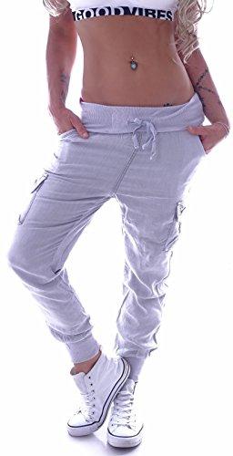 Cargohose Damen Cargo Jeans Hose Boyfriend Baggy Aladin Taschen Grau Cargohosen Stoffhose Stoffhosen Hosen Gummibund Stretch XS 34 S 36 M 38 L 40 XL 42 gr größe Size Schlabber Look sportlich Hüfthose