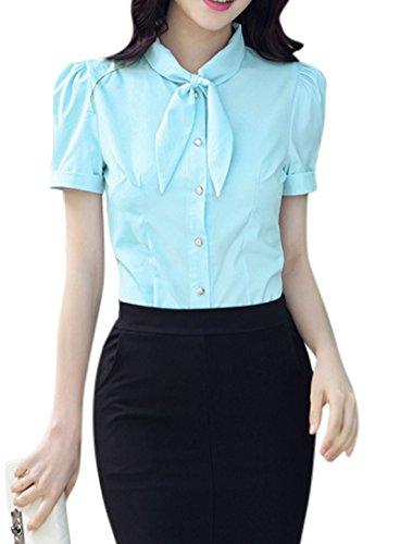 sourcingmap Femme Nœud Cou Manches Courtes Fermeture Bouton Ourlets Roulés Chemise Light Blue