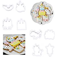 Lalang 8pcs Unicorn Cookie Cutters Sugarcraft Fondant Embossers Cookie Pressers for Cake Decoration