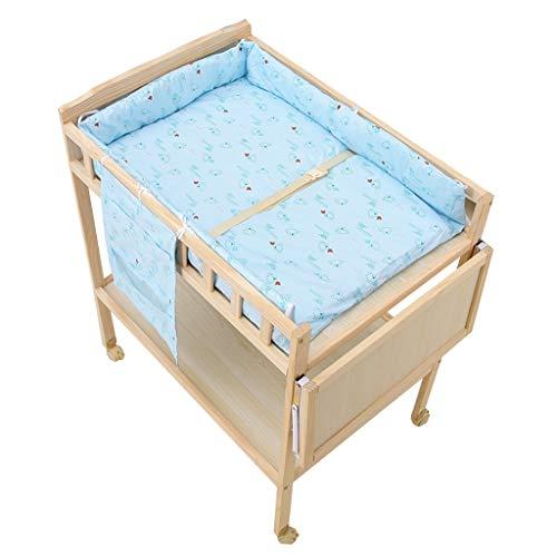 ZAQI Wickelkommode wickelaufsatz wickeltisch Hölzerner Wickeltisch auf Rädern, Kindergarten-Mädchen-Jungen-Säuglings-Blaue Massage-Aufbereiter-Badewannen-Station mit Lagerung, 0-3 Jahre alt -