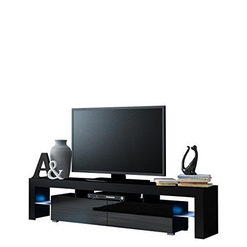 Mirjan24  TV Schrank Solo, Unterschrank mit LED, Fernsehschrank, TV Lowboard mit Grifflose Öffnen, Hochglanz Matt Wohnwand (mit Blauer LED Beleuchtung, Schwarz Matt/Schwarz Hochglanz) - Media Schränke Mit Türen