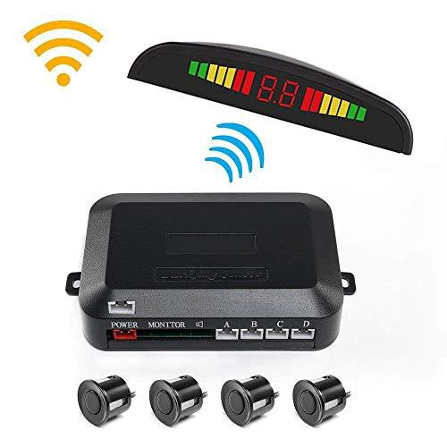 CONRAL Intelligentes System für den automatischen Parkassistenten, 12-V-Pkw-Rückfahrradar-Kits mit 4 Einparksensoren, Abstandserkennung + LCD-Display + akustischer Warnung