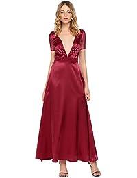 Caeasar Damen Abendkleid Lang Tief V-Ausschnitt Rücken-Perspektiv Mesh  Patchwork Maxi Party Swing eac975f9ed