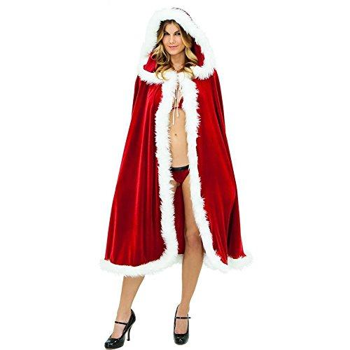 Rote Frauen Frau Weihnachtsmann Weihnachtskostüm Mantel Mit Kapuze Weihnachtswolljacke Samt Kapuzen Kap Umhang (1.2M)
