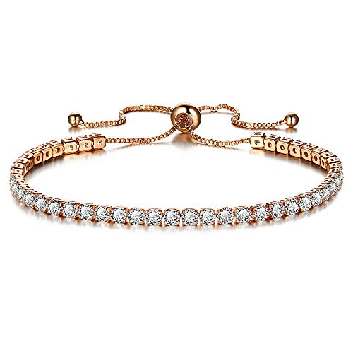 ODJOY-FAN Einstellbar Armband Mode Kubisch Handketten Einreihig Bohrer Armreifen Frau Hochzeit Charm-Armbänder Schmuck (I,1 PC)