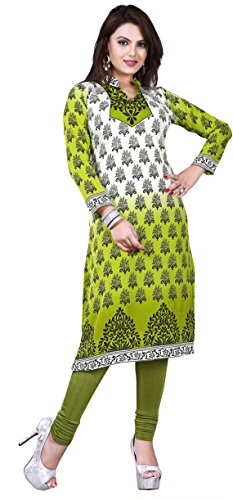 Maple Clothing Stampato Kurti Tunica Top Womens Camicetta Indiani Vestiti Green 2 L...Busto 101,60 cm