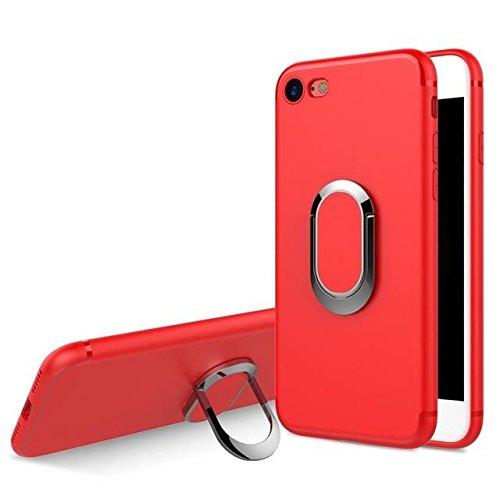 Fini mat Anneau Porte Béquille flexible TPU feuille métallique pour iPhone 7 red