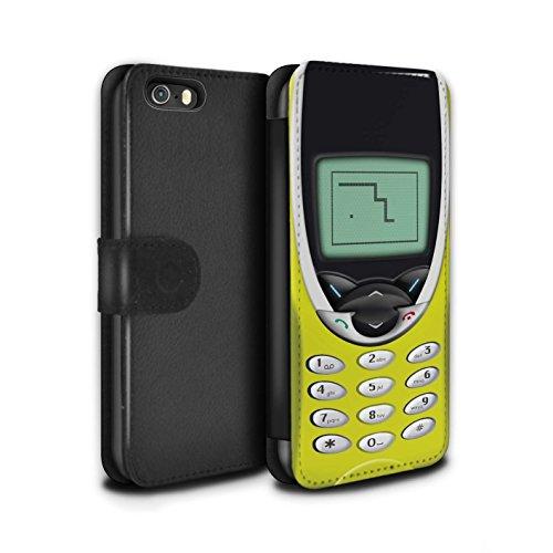 STUFF4 PU-Leder Hülle/Case/Tasche/Cover für Apple iPhone 5/5S / Gelbes Nokia 8210 Muster / Vintage Handys Kollektion