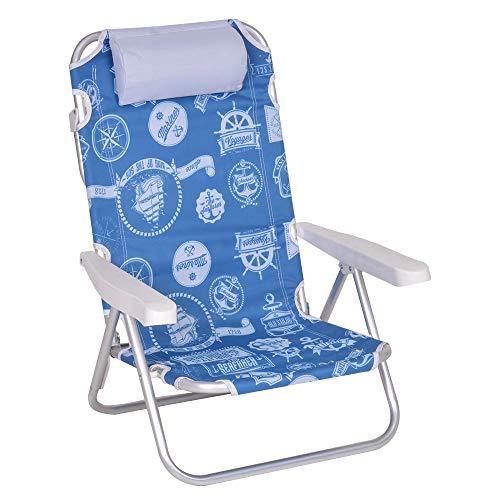 Enrico coveri spiaggina sdraio pieghevole e reclinabile in 5 posizioni, struttura in acciaio, perfetta per giardino, mare e campeggio (blu)