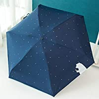 Jasnyfall Korean Style Cute Bear Sun-Rain Umbrella Five Folding Umbrella 6 Stainless Steel Ribs Umbrella Mini Vinyl Anti-UV Umbrella(dark blue)